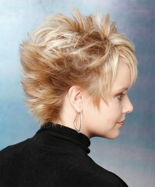 Short Straight Alternative    Hairstyle   - Light Golden Blonde Hair Color - Side View