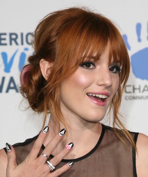Bella Thorne  Long Straight    Ginger Red  Updo  with Blunt Cut Bangs  - Side View