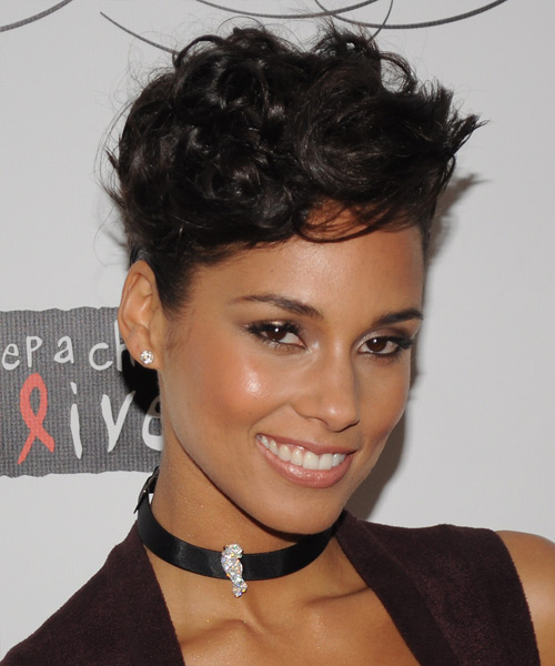 Alicia Keys  Medium Curly Formal   Updo Hairstyle   - Dark Mocha Brunette Hair Color - Side View