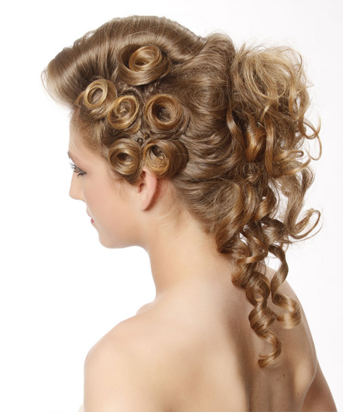 Long Curly   Dark Blonde  Updo    with Light Blonde Highlights - Side View