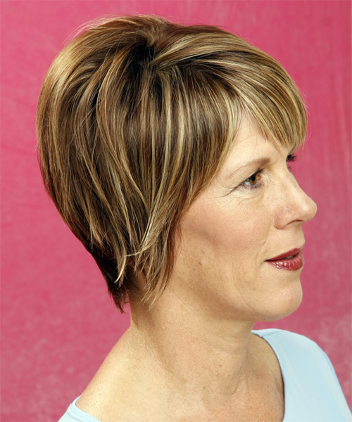 Short Straight Formal    Hairstyle with Side Swept Bangs  - Dark Blonde Hair Color with Light Blonde Highlights - Side View