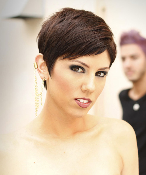 Short Straight Formal  Pixie  Hairstyle with Side Swept Bangs  -  Mocha Brunette Hair Color - Side View