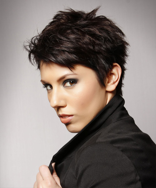 Layered  Dark Mocha Brunette Pixie  Cut   - Side View