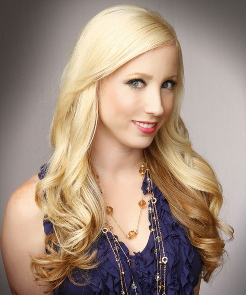 Long Wavy Formal   Hairstyle   - Medium Blonde (Golden) - Side View
