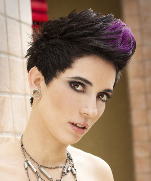 Short Straight Alternative    Hairstyle   - Purple  Hair Color with Purple Highlights - Side View