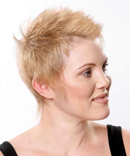 Short Straight Alternative    Hairstyle   -  Blonde Hair Color - Side View