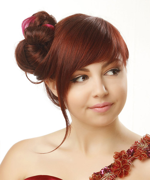 Updo Long Straight Formal Wedding Updo Hairstyle with Side Swept Bangs  - Medium Red - Side View