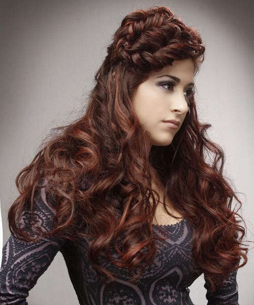 Long Curly Alternative  Braided Updo Hairstyle   -  Auburn Brunette Hair Color - Side View