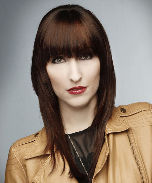 Long Straight Formal    Hairstyle with Blunt Cut Bangs  -  Auburn Brunette Hair Color - Side View