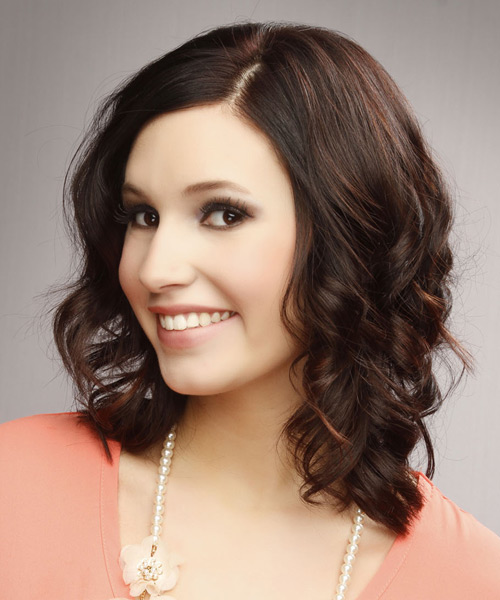 Medium Wavy Casual   Hairstyle   - Dark Brunette - Side View