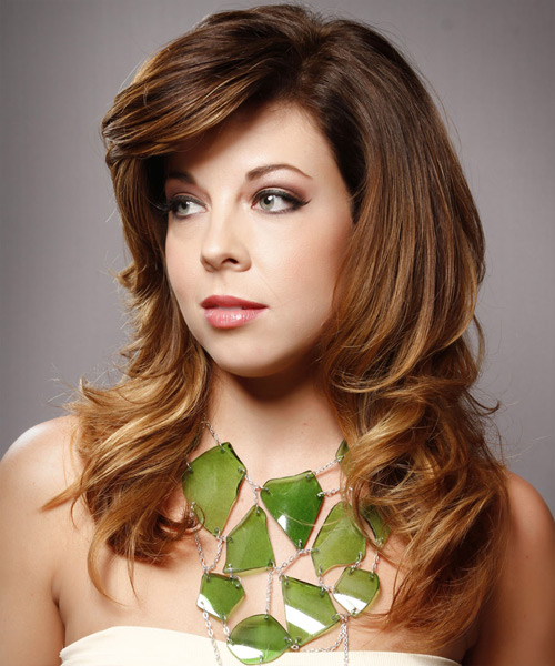 Long Straight Formal    Hairstyle with Side Swept Bangs  -  Chestnut Brunette Hair Color with  Blonde Highlights - Side View