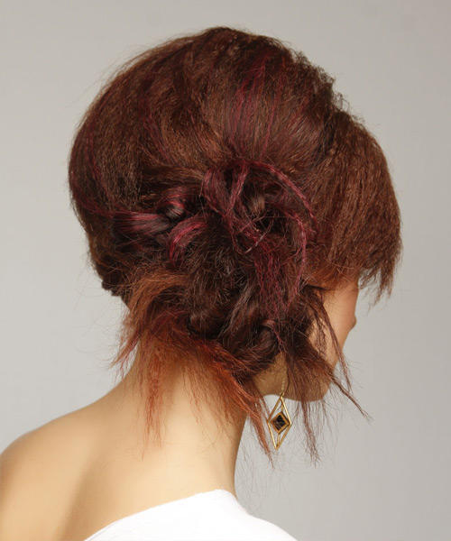 Updo Long Straight Casual Emo Updo Hairstyle   - Medium Red - Side View