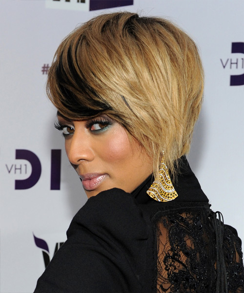 Keri Hilson Short Straight Casual    Hairstyle with Side Swept Bangs  - Medium Champagne Blonde Hair Color with Black Highlights - Side View