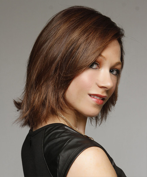 Medium Straight   Dark Chocolate Brunette   Hairstyle   - Side View