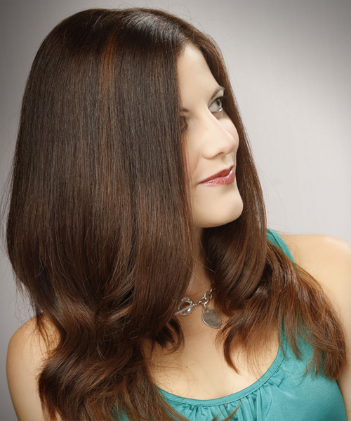 Long Straight Formal    Hairstyle   -  Caramel Brunette Hair Color - Side View