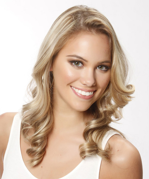Long Wavy Casual   Hairstyle   - Light Blonde (Champagne) - Side View