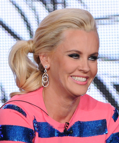 Jenny McCarthy  Long Curly Casual   Updo Hairstyle   - Light Blonde Hair Color - Side View