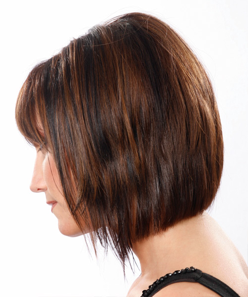 Medium Straight Formal    Hairstyle with Layered Bangs  - Medium Mocha Brunette Hair Color - Side View