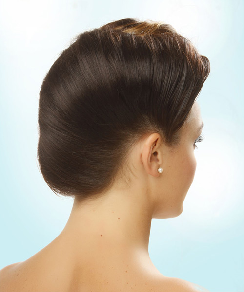 Long Straight    Brunette  Updo    - Side View