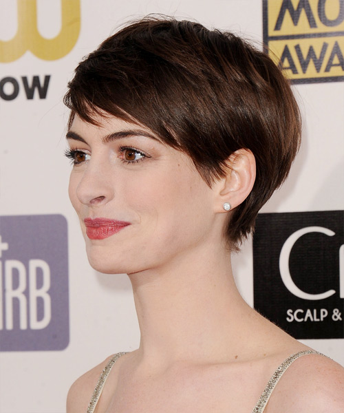 Anne Hathaway Short Straight Casual   Hairstyle with Side Swept Bangs  - Side View