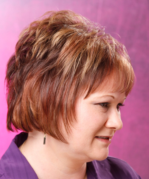 Short Straight Formal    Hairstyle with Layered Bangs  - Medium Auburn Brunette Hair Color - Side View
