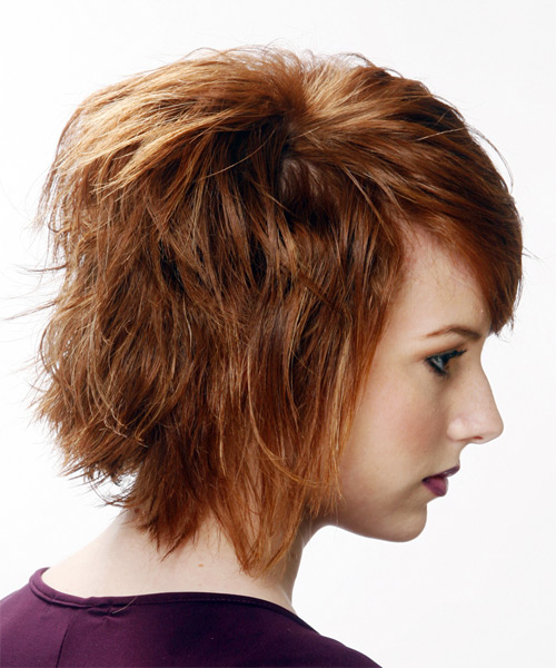 Medium Straight Casual   Hairstyle with Side Swept Bangs  (Auburn) - Side View