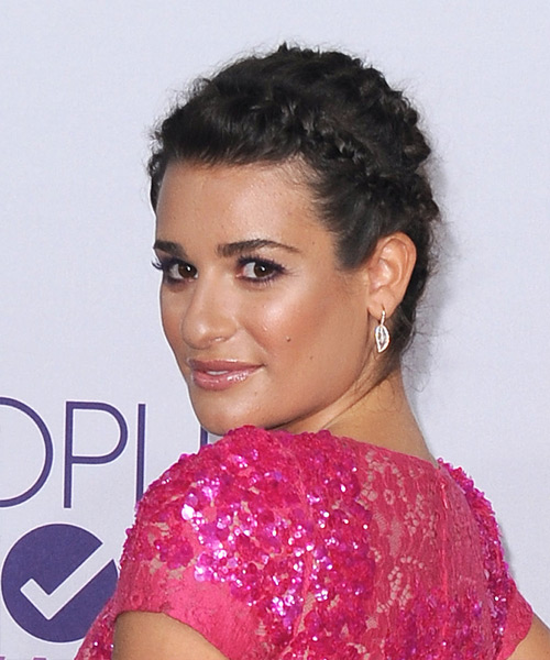 Lea Michele  Long Straight Casual  Braided Updo Hairstyle   - Dark Brunette Hair Color - Side View