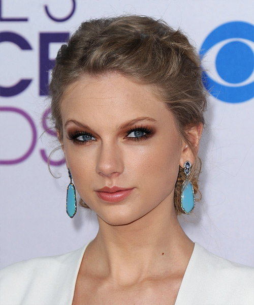 Taylor Swift  Long Curly Casual  Braided Updo Hairstyle   - Light Caramel Brunette Hair Color - Side View
