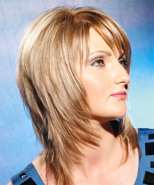 Long Straight   Golden   Hairstyle with Side Swept Bangs  - Side View