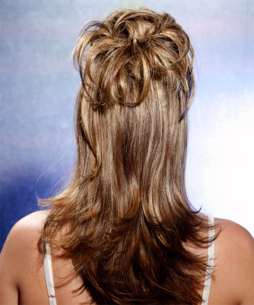Long Straight Casual   Half Up Hairstyle   - Medium Brunette Hair Color with Light Blonde Highlights - Side View
