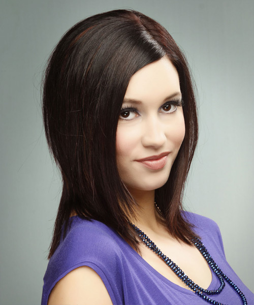 Medium Straight   Dark Burgundy Brunette   Hairstyle   - Side View