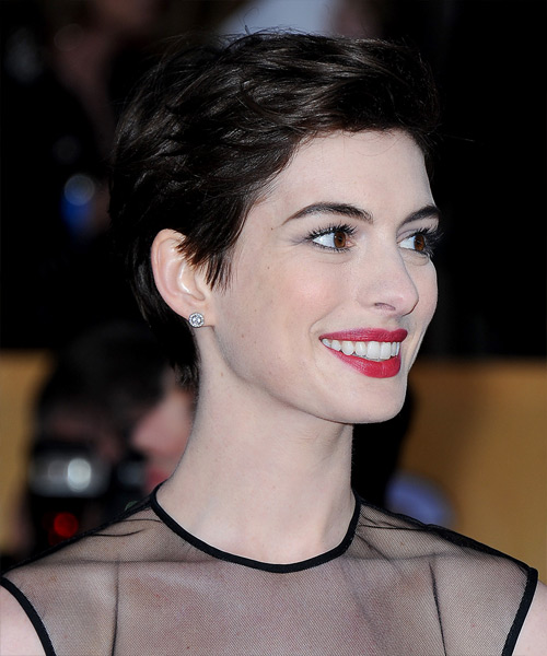 Anne Hathaway Short Straight Casual    Hairstyle   - Dark Mocha Brunette Hair Color - Side View