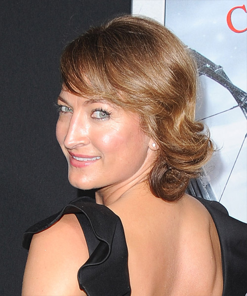 Zoe Bell Updo Long Straight Formal Wedding Updo Hairstyle with Side Swept Bangs  - Medium Brunette (Caramel) - Side View