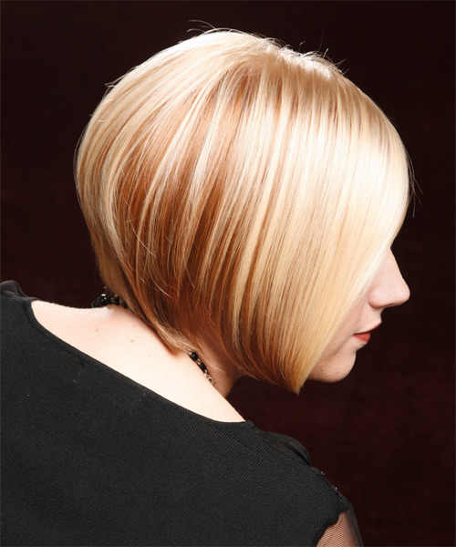 Short Straight Formal Bob  Hairstyle with Side Swept Bangs  - Light Blonde (Golden) - Side View