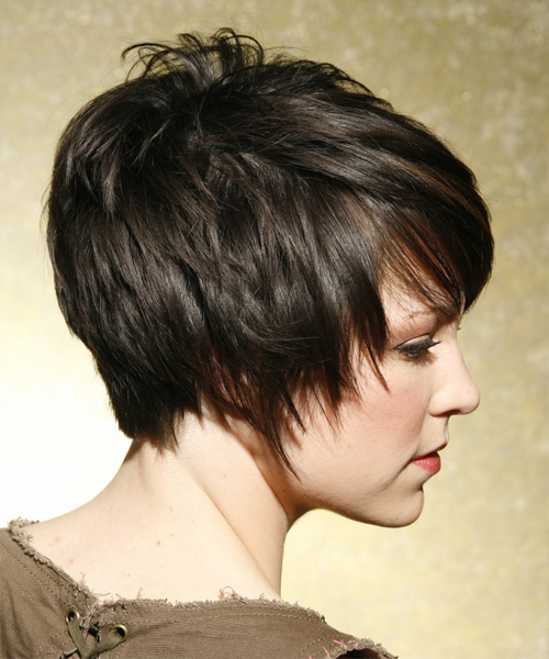 Short Straight Casual    Hairstyle   - Dark Ash Brunette Hair Color - Side View