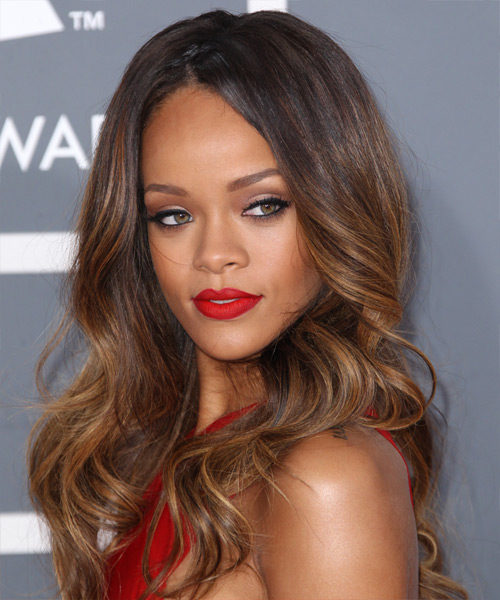 Rihanna Long Wavy Formal   Hairstyle   - Dark Brunette (Caramel) - Side View