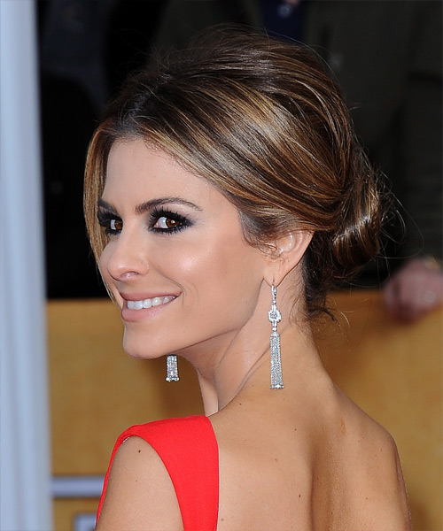 Maria Menounos Updo Long Straight Formal Wedding Updo Hairstyle   - Medium Brunette - Side View