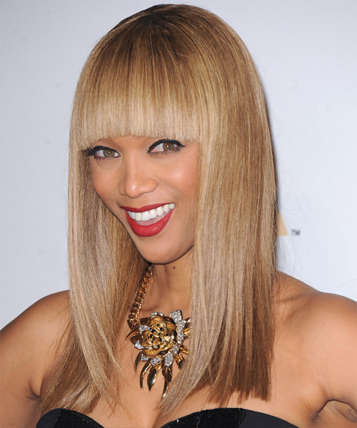 Tyra Banks Long Straight Formal    Hairstyle with Blunt Cut Bangs  - Light Caramel Brunette Hair Color with Medium Blonde Highlights - Side View