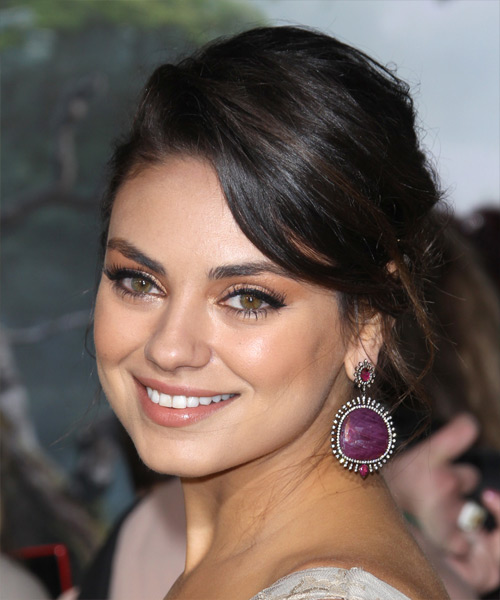 Mila Kunis Casual Long Curly Updo Hairstyle Black Hair Color