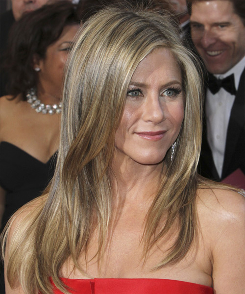 Jennifer Aniston Long Straight    Ash Blonde   Hairstyle   with Light Blonde Highlights - Side View