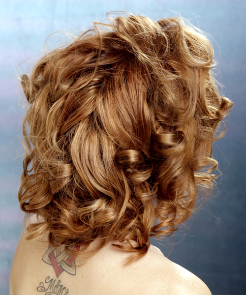 Medium Curly   Light Auburn Brunette   Hairstyle   with Light Blonde Highlights - Side View