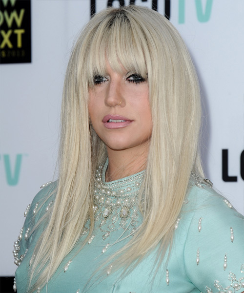 Kesha Long Straight Casual   Hairstyle with Blunt Cut Bangs  - Light Blonde (Platinum) - Side View