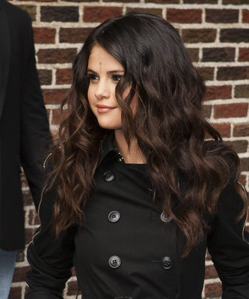 Selena Gomez Long Wavy   Dark Mocha Brunette   Hairstyle   - Side View