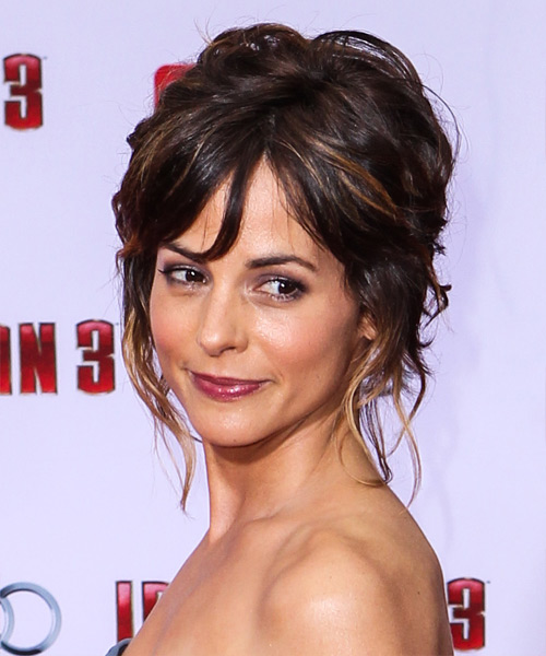 Stephanie Szostak  Long Curly   Dark Mocha Brunette  Updo    with Dark Blonde Highlights - Side View