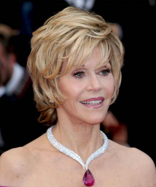 Jane Fonda Short Straight    Blonde   Hairstyle with Layered Bangs  - Side View