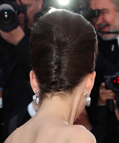 Marion Cotillard Updo Long Straight Formal Wedding Updo Hairstyle   - Dark Brunette (Chocolate) - Side View