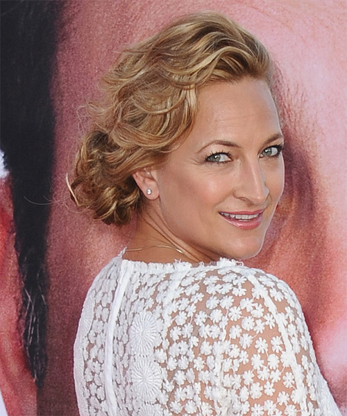 Zoe Bell  Long Curly Formal   Updo Hairstyle   - Light Copper Brunette Hair Color with Light Blonde Highlights - Side View