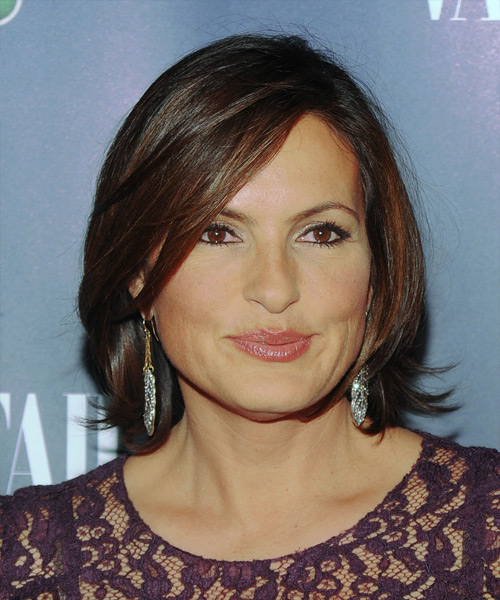 Mariska Hargitay Short Straight Formal    Hairstyle with Side Swept Bangs  - Side View