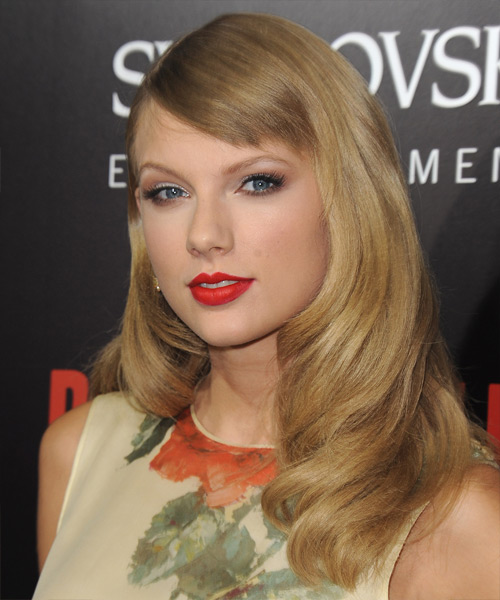 Taylor Swift Long Straight     Hairstyle with Side Swept Bangs  - Side View