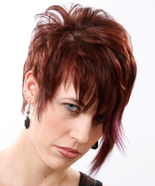 Short Straight    Mahogany Brunette   Hairstyle with Side Swept Bangs  - Side View
